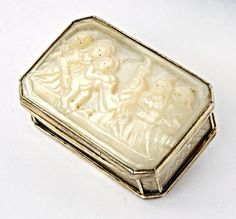 English Silver and Mother of Pearl Box hallmarked Birmingham, 1834, Nathaniel Mills,  mother of pearl cover and base…