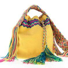Wayuu Bag :: Wayuu Taya Mochila Round Bag : Hand-woven in Yellow with Multi-Color Strap Mochila Crochet, Crochet Tote, Ethnic Bag, Art Bag, Round Bag, Hermes Bags, Boho Bags, Tapestry Crochet, Crochet Purses