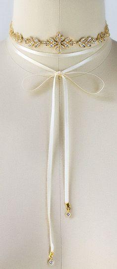 Gold Leaf Choker, Cream/ White Ribbon, Wedding Jewelry, Bridal Accessories, ElegantbDainty Delicate Necklace, Cubic Zirconia