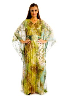 Golden Rose Olive $60.00 http://zafirahfashion.com/shop/4584099183/golden-rose-olive/8008765 Green olive colour with golden print chiffon dress  Free size Hem hits the floor  Long sleeves V-shaped neckline  Traditional oriental style  Manufactured in UAE       Hand wash, dry clean