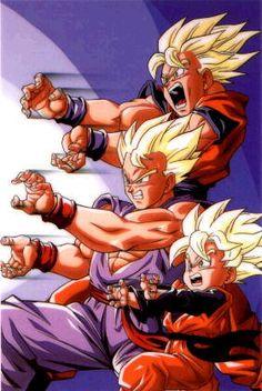 Super Saiyan Goku, Gohan, and Goten: Father Son Kamehameha - Visit now for 3D Dragon Ball Z shirts now on sale!
