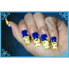 Hand painted Minion nails      http://www.nailstruly.com/nails/cutesy?product_id=58