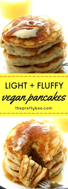 Vegan Pancakes Easy and delicious light and fluffy vegan pancakes. Perfect for the weekend!Easy and delicious light and fluffy vegan pancakes. Perfect for the weekend! Vegan Pancake Recipes, Vegan Foods, Vegan Dishes, Whole Food Recipes, Vegetarian Recipes, Cooking Recipes, Healthy Recipes, Vegetarian Pancakes, Recipes Dinner