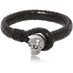 Alexander Mcqueen Men Braided Leather Bracelet With Skull ($255) ❤ liked on Polyvore featuring men's fashion, men's jewelry, men's bracelets, black, mens leather braided bracelets, mens skull bracelets, mens watches jewelry and mens bracelets
