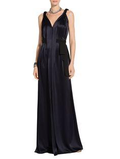Liquid Satin V-Neck Gown