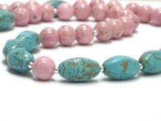 Pink Necklace Turquoise Aqua Mint Summertime Fashion by CCARIA, $23.00