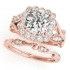 Engagement Ring -Square Floral Vine Diamond Halo Bridal Set in Rose Gold-ES1817RGBS