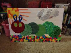 The very hungry caterpillar sensory board made for my son's first birthday party!! Made with most items from the dollar tree:)