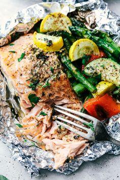 Butter Garlic Herb Salmon Foil Packets 4