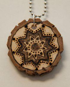 Mandala 6. $18.00, via Etsy.    pyrography, wood burned necklace, handmade