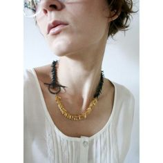 Tickle II Necklace Oxidated/Gold | Karolina Bik Jewelry