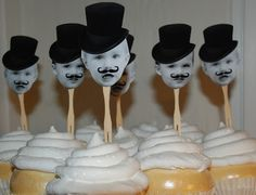 love these circus top hat and mustache toppers | Cake Face Toppers