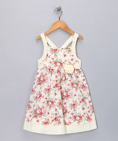 Love this Pink & Ivory Rosette Dress - Infant, Toddler & Girls by Fantaisie Kids on #zulily! #zulilyfinds