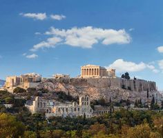 Athens acropolis with the Parthenon atop overlooking the   city