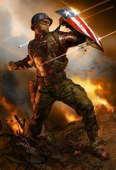 Captain America by Ryan Meinerding. Marvel Captain America, Ms Marvel, Capitan America Marvel, Marvel Comics Art, Marvel Heroes, Marvel Avengers, Comic Book Characters, Marvel Characters, Comic Books