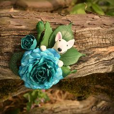 Polymer clay dog lover boutonniere...or brooch... #polymerclay #peony #bullterrier #brooch