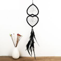 Xin Telesthesia Wind Chimes Double Heart DreamCatcher feathers Dream catcher handmade Hanging Decoration home Christmas Gift Dream Catcher Price, Dream Catchers For Sale, Black Dream Catcher, Feather Dream Catcher, Native American Girls, Native American Flute, Dream Catcher Native American, Authentic Dream Catchers, Funeral Gifts