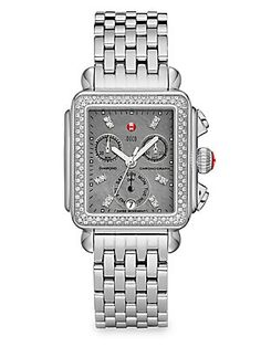 Michele Watches Deco Diamond, Grey Mother-Of-Pearl