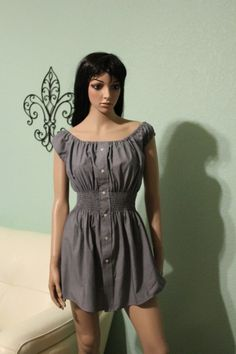 Men's shirt refashioned into off the shoulder summer dress by enid