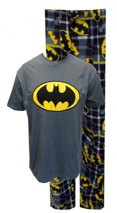 Batman Plaid Classic Logo Pajamas  Who says fun pajamas are for kids? These Batman jammies for men are a totally cool twist on a traditional plaid theme. The 100% cotton gray tee shirt features the Batman logo and is paired with super soft 100% polyester plaid fleece pants with Batman logos all over them. Pants have a drawstring, elastic waist and a button fly. $30