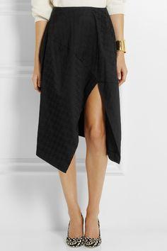 Stella McCartney|Houndstooth cotton-blend jacquard midi skirt|NET-A-PORTER.COM