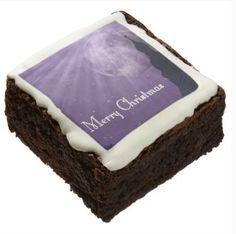 Merry Christmas Brownies - JUSTART on Zazzle  #justart #zazzle #brownies #christmas #xmas #food #church #moon #fullmoon #stars #sky #purple #white #black #silhouette