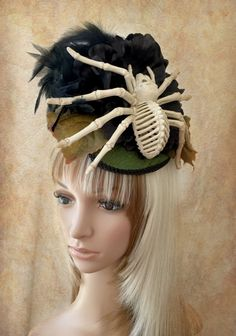 Spider Hat, Halloween Fascinator, Tarantula Hat, Skeleton Spider fascinator, Tear drop Fascinator, Arachnophobia Hat, Creepy Hat, Insect - pinned by pin4etsy.com