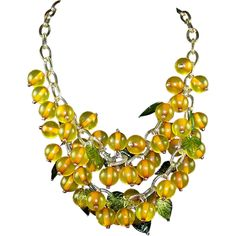 BAKELITE Applejuice Glass Leaf Celluloid Chain Dangle Cluster Necklace from sharons-sparkles on Ruby Lane