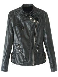 Black Wide Lapel Buckle Straps Biker Jacket | Choies