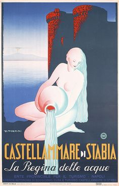 Vintage Travel Poster.  Castellamare di Stabia, Italy.  The Queen of Water.
