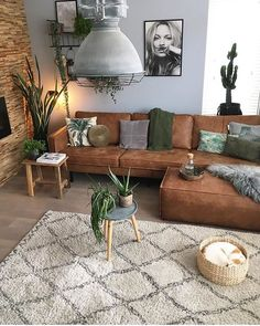 Plants + feature wall - #LivingRoomSeating #LivingRoomSeatingMoroccanStyle #LivingRoomSeatingPoufs #LivingRoomSeatingUnique