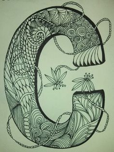 "Zentangle Letter ""C"" to color see more at www.zazzle.com/zenspiritart or www.Facebook/zenspiritart     still available"