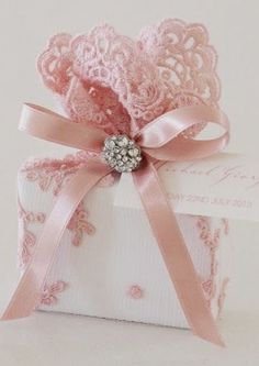 Elegant gift wrap | ... ribbon in colors like pale pink, ivory, ... | Elegant Gift Wrap!!! Bebe'!!! Lovely in pink!!!Love the rhinestone button trim!!!