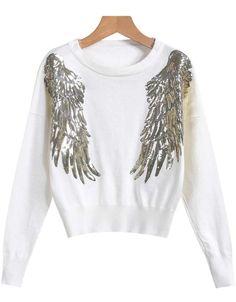 Lose Pullover mit  Pailletten Flügel Muster, weiß 19.83