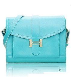 Blue Cross Body Lock Leather Tote Bag