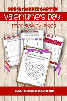 Free Valentine's Day Activities for Pre-K, Kindergarten - includes mazes, tracing, cutting, read, trace spell activities Cutting Activities, Fun Activities, Valentines Day Activities, Valentine Day Crafts, Homeschool Worksheets, Homeschooling, Kindergarten Age, Valentine's Day Crafts For Kids, Different Holidays