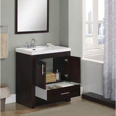 Vanity Set With Mirror, Single Sink Bathroom Vanity, Modern Bathroom, Bathroom Ensembles, Solid Wood Dining Chairs, Bathroom Essentials, Coffee Table With Storage, Shower Doors, Storage Spaces