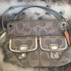 Authentic Coach Crossbody Purse Adorable authentic silver metallic thread Coach Bags Crossbody Bags