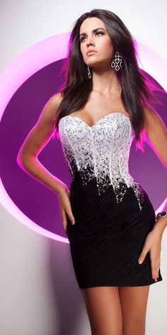 Style TS11354 black and white strapless mini dress with beading (Tony Bowls) #FOXyNYE