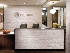 Workspaces, Profesional Reception Desk Design For Small Medical Office Ideas With Nice Pendant Lamp: Modern Reception Desk Design to Decorate the Medical Office