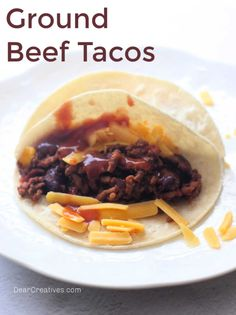 Ground Beef Tacos - quick, easy, and delicious! Perfect to make any night of the week. Grab the recipe for ground beef tacos and cook tacos tonight! Ground Beef Taco Seasoning, Ground Beef Tacos, Spicy Recipes, Mexican Food Recipes, How To Warm Tortillas, Dinner Side Dishes, Meatloaf Recipes, Easy Dinner Recipes, Dinner Ideas