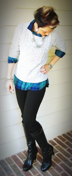Plaid Boyfriend Shirt, Fitted Sweater, Trends, Fashion, Outfit