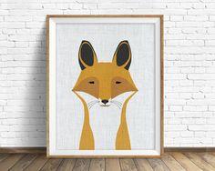 Foxy art Estampe grand art mi siècle mur d'art par AnnieBaileyArt