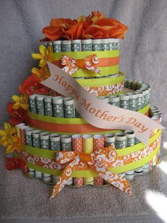 """Check out MONEY CAKE, """"Happy Mothers Day"""" - Unique Gift Made with Real Money. A Fun New Way to Send a Greetting To That Sepcial Somone! on creativecreationsmc"""