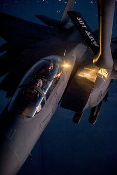 F-15 refueling at night