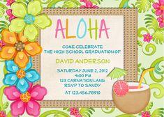 free beach themed birthday invitations | Luau Birthday Invitation Tropical Hawaiian Hula Party - Printable ...