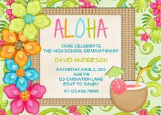 Luau Birthday Invitation Tropical Hawaiian Hula by 3PeasPrints