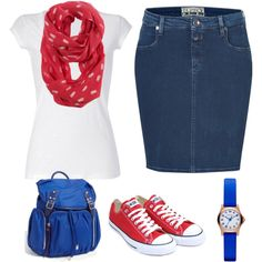 Cute outfit but I would wear either a different cut skirt or skinny jeans Diva Fashion, Fashion Beauty, Fashion Outfits, Red Chucks, Converse, Apostolic Fashion, Sporty Chic, Dress To Impress, Polyvore Fashion