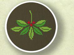 Pretty Mistletoe Christmas Cross Stitch PDF Pattern by andwabisabi, $3.50
