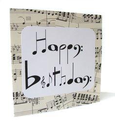 Handmade birthday card for music lovers